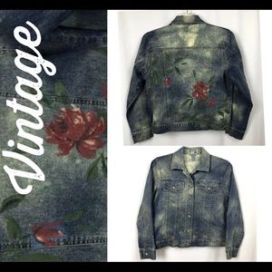 Vintage Denim Jean Jacket Painted distressed
